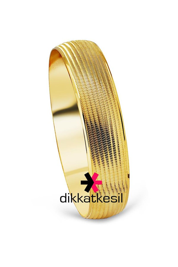 Gold Plated Bracelet, Gold Looking Bracelet (Striped Trabzon Bangle Model)