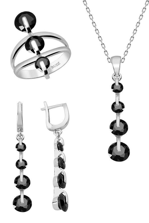 Silver Jewelry Set, Black In Line Stone
