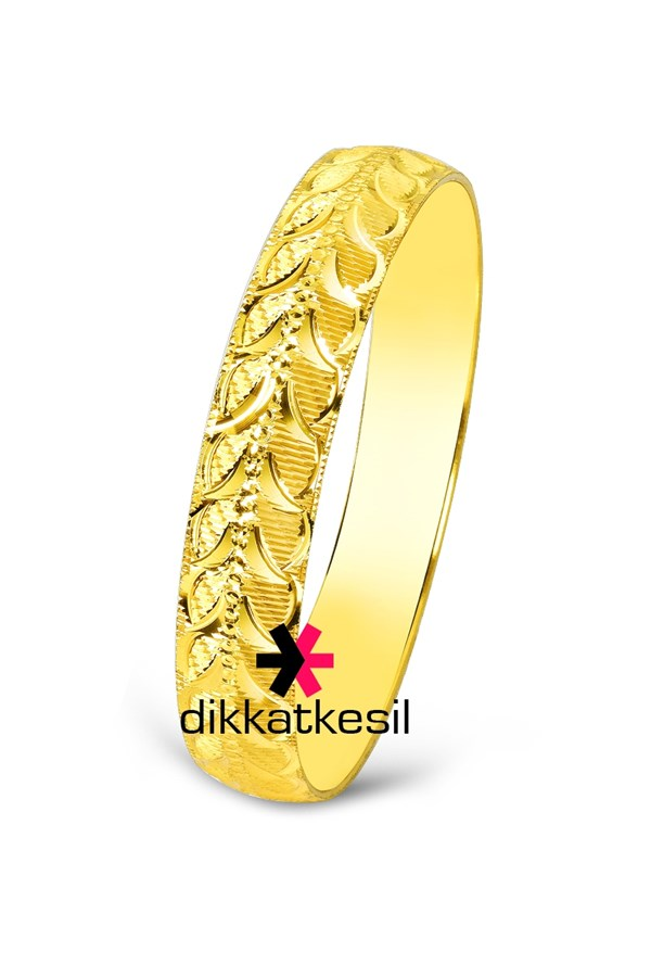 Imitation Bangle Bracelet, Gold Plated Bangle Bracelet (Leaf Pattern Design)