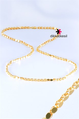 Imitation Barley Chain Necklace, Gold Plated Barley Chain Necklace (Sequin Halep Chain) 60 cm