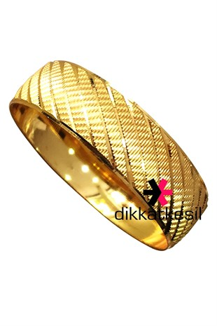 Gold Plated Bracelet, Gold Looking Bracelet (Thin Stripe Bangle Patterned)