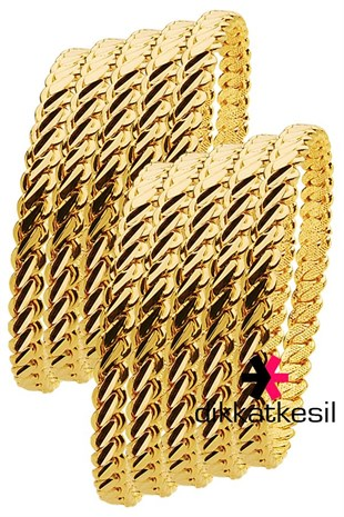 Imitation Adana Twist Bangle Bracelet, Gold Plated Triple Twist Bracelet (3 Medium Thick Model Bangle) 10 Pieces