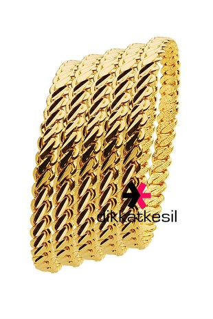 Imitation Adana Twist Bangle Bracelet, Gold Plated Triple Twist Bracelet (3 Medium Thick Model Bangle) 5 Pieces