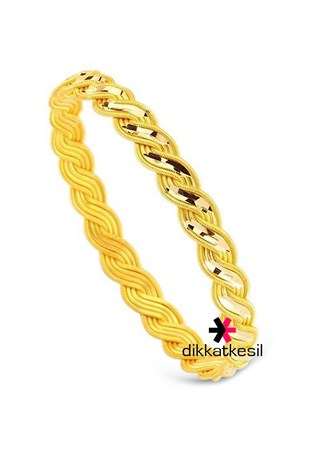 Imitation Mirrored Twist Bangle Bracelet, Gold Plated Kiss Twist Bangle Bracelet (8 Wire Braided Threaded Model)