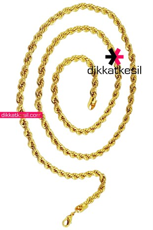 Imitation Rope Chain Necklace, Gold Plated Twist Chain Necklace 80 cm