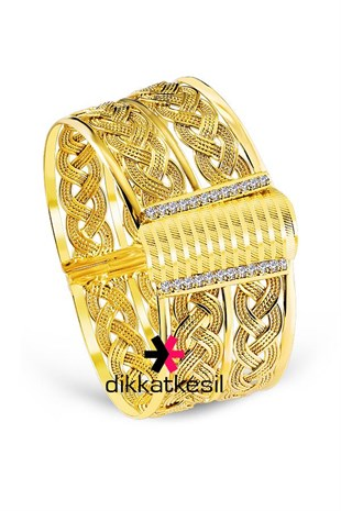 Braide Imitation Hinged Bracelet, Braided Gold Plated Clasp Bracelet (Flat Twisted Model Bangle)