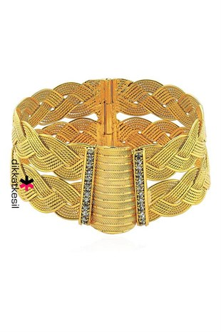 Braide Imitation Hinged Bracelet, Braided Gold Plated Clasp Bracelet (Twisted Bangle Model)