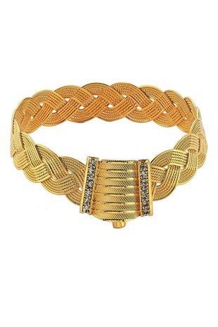 Imitation Braid Hinged Bracelet, Gold Plated Braided Wicker Hinged Bracelet (Hair Braid Model)