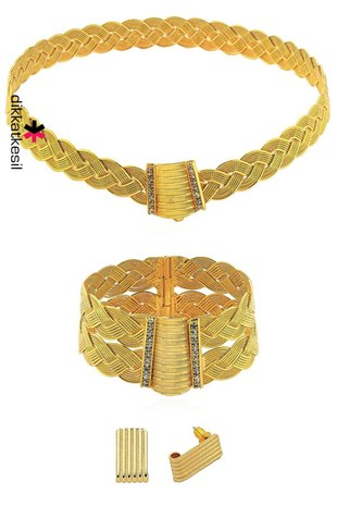 Braid Imitation Jewelry Set, Gold Plated Braided Trabzon (Choker Necklace, Bracelet and Earring)