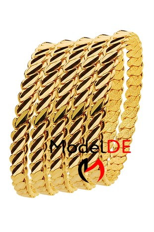 Imitation Adana Twist Bangle Bracelet, Gold Plated Triple Twist Bracelet (3 Double Thick Model Bangle) 5 Pieces