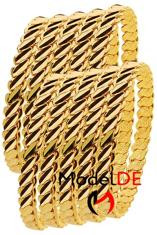 Imitation Adana Twist Bangle Bracelet, Gold Plated Triple Twist Bracelet (3 Double Thick Model Bangle) 10 Pieces