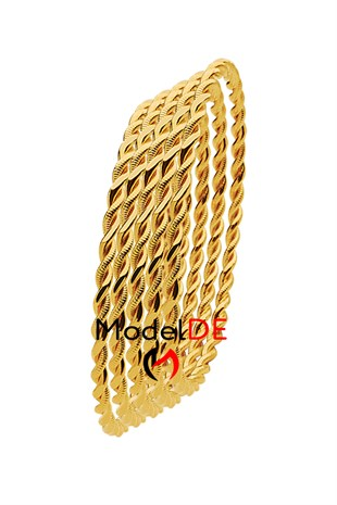 Imitation Double Twist Bracelet, Gold Plated Dual Wire Twisted Bangle Bracelet (2 Thin Model) 5 Pieces