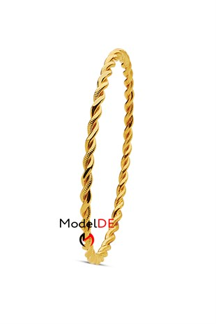 Imitation Double Twist Bracelet, Gold Plated Dual Wire Twisted Bangle Bracelet (2 Thin Model)